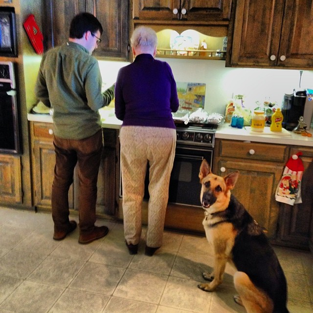 Pyrrha helping Guion and Ma-Maw in the kitchen. #christmas