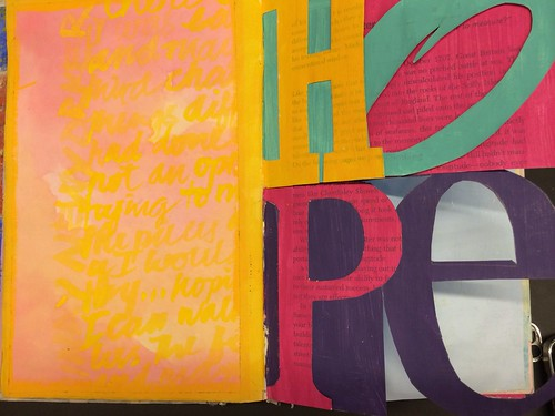 Art Journal Every Day: HOPE - original multi-page layout before journaling