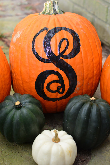 Hand Painted Monogram Pumpkin