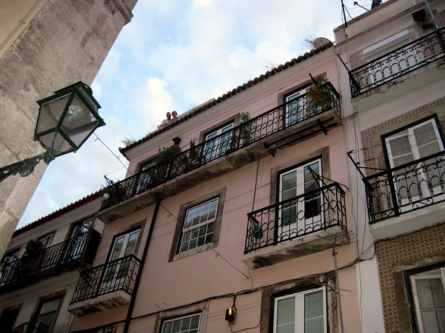 Lisbon, Portugal apartment balcony.