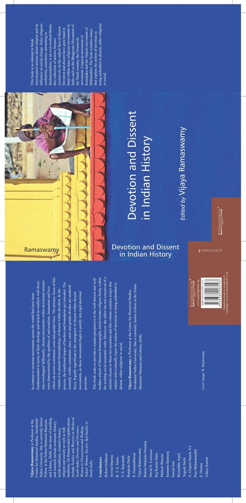 Cambridge university press features Sreeni's photo on the cover of the book Devotion and Dissent in Indian History by Vasu..