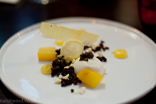 Tanners: Yoghurt pannacotta, caramel pineapple, chocolate soil
