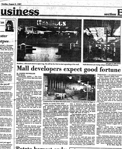 Patrick Henry Mall Construction, August 2, 1987