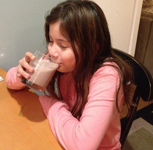 Maya loves here #TruMoo chocolate milk!