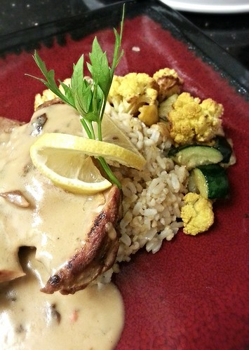 Chicken w/bechamel and roasted fall veg over brown rice by pipsyq