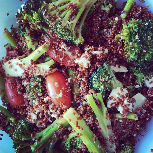 Roasted broc, red quinoa, feta and tomatoes