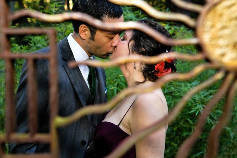 Kissing in the sculpture garden