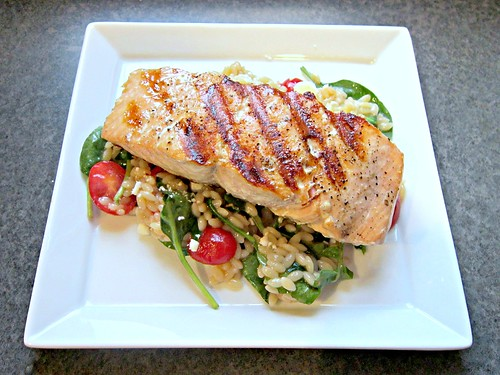 Salmon with Orzo, Feta and Red Wine Vinaigrette (2)