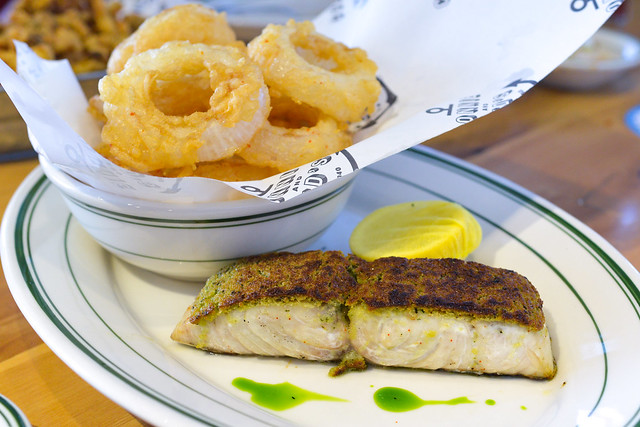 HERB CRUSTED SEA BASS onion rings
