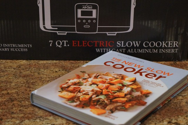 slow cooker and cookbook