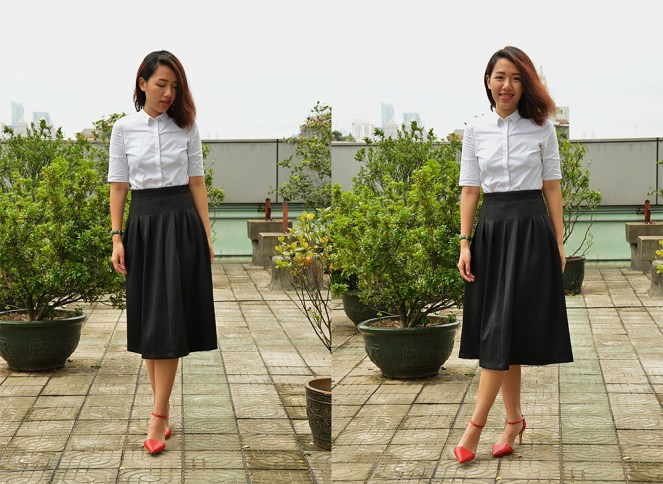 COS white blouse, black midi skirt, red lips, red ankle strap heels