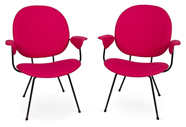 1960s Hot Pink Armchairs