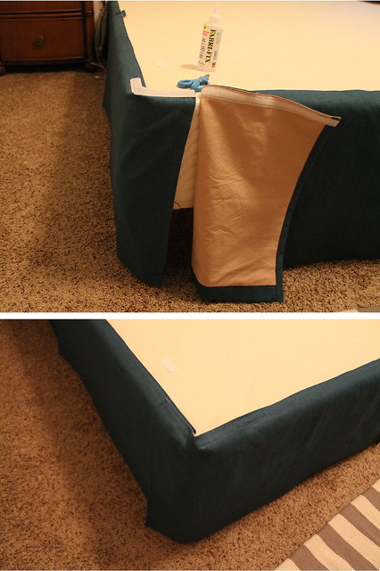 DIY Pleated Bedskirt Attaching the corners