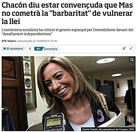 14i14 ara Carmen Chacón sobre Mas No se pondrá fuera de la Ley