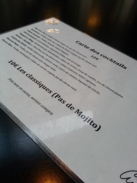 Le Fantome Bar Paris menu