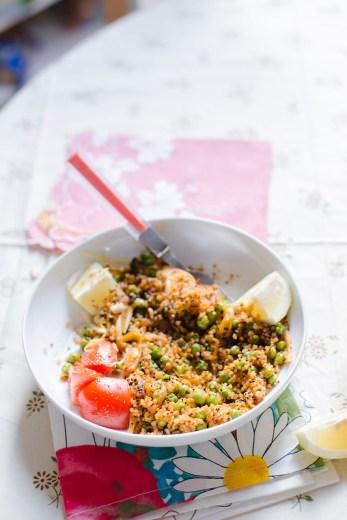 Quinoa, Peas and Sriracha Roasted Fennel