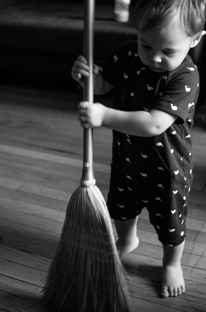 Micah Sweeping Up