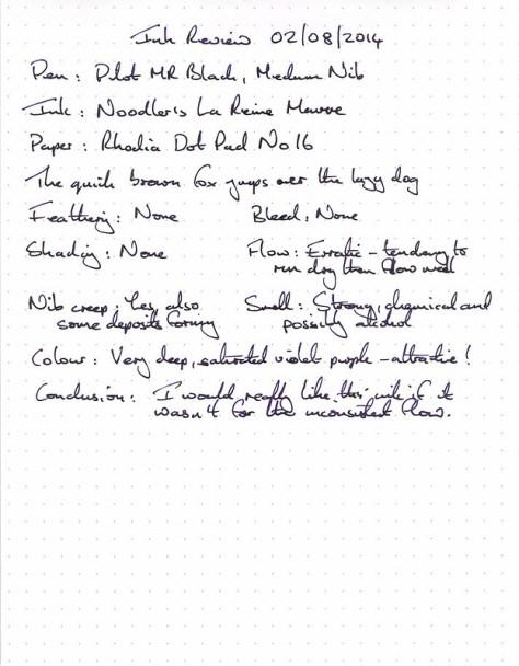 Noodler's La Reine Mauve - Ink Review - Rhodia Dot Pad