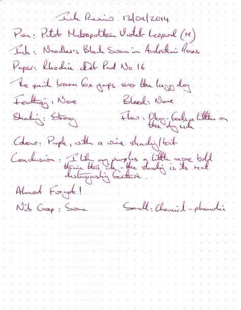 Noodler's Black Swan in Australian Roses - Ink Review - Rhodia