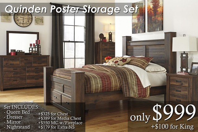 B246-Quinden Poster Storage Set Qn $999 KG $1095Chest $325 Extra NS $179 Media Chest $389 Media Chest with Fireplace $550