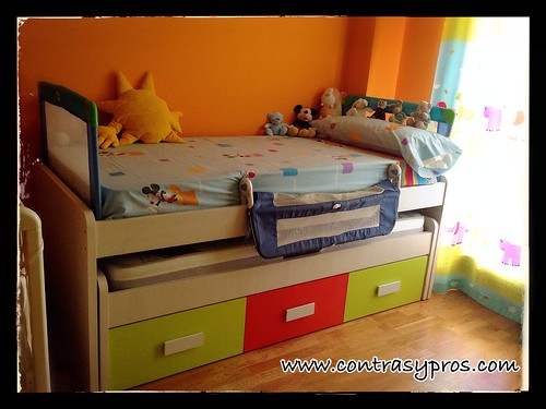 cama, mayores, bebé, cuna