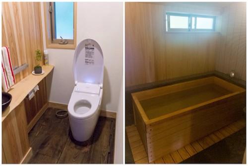 こちらは、トイレとお風呂です。この檜のお風呂デカ! 外人用に特別大きいみたい。