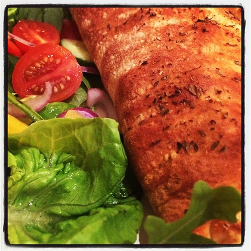 Calzone and salad