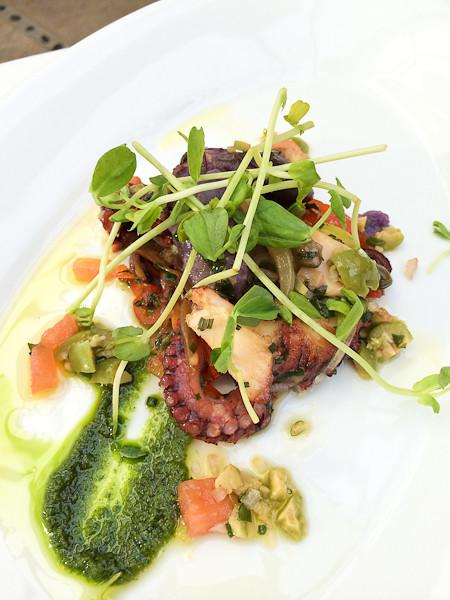 Roasted Octopus, Peewee Potatoes, Salsa Verde + Sauce Vierge