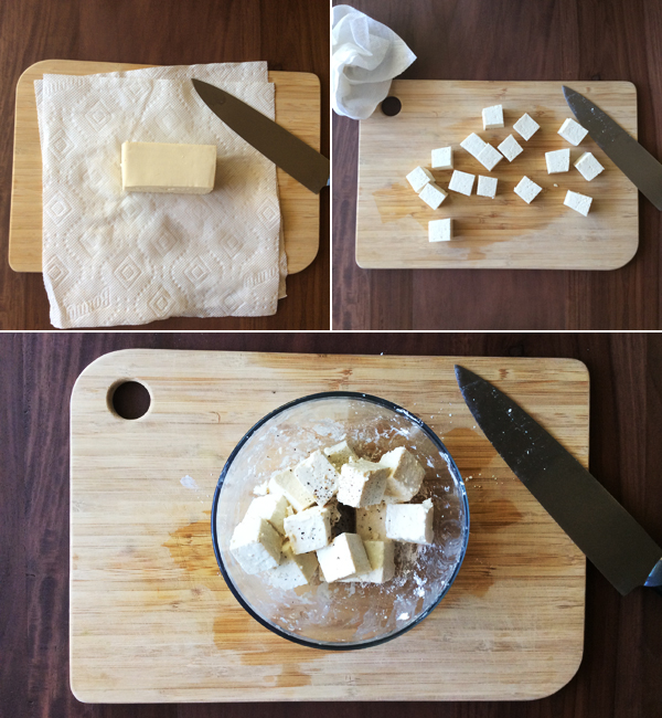 salt & pepper tofu: prep work