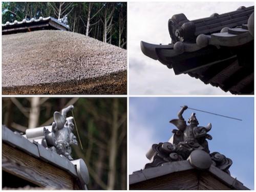 そして、こちらは、ささゆり庵の屋根にフォーカス! えびすさんが、乗ってますね!