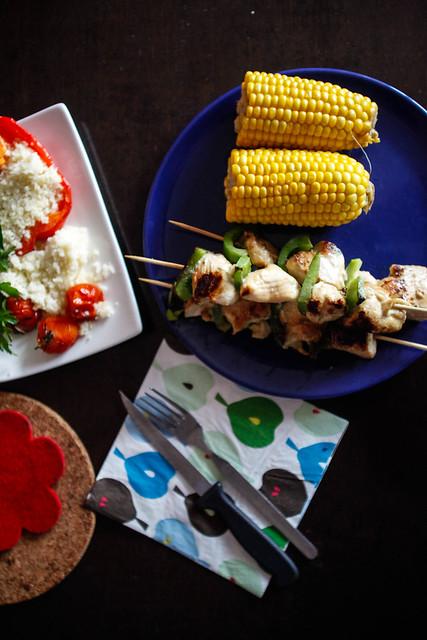 corn, chicken skewers