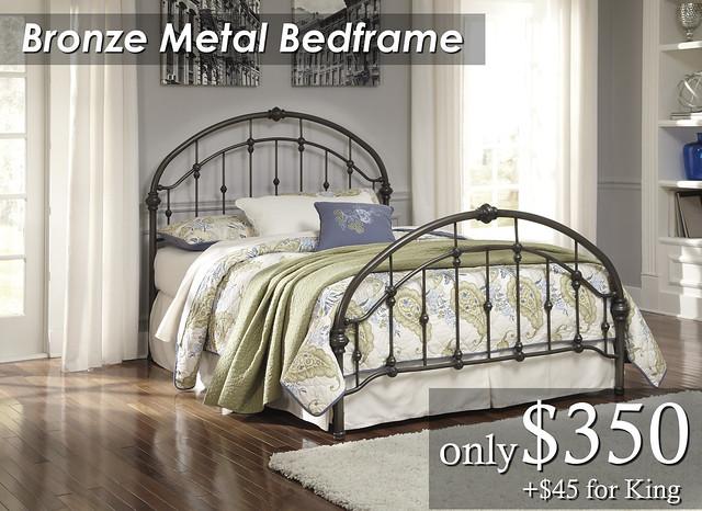 B280-181 Bronze Metal Bedframe Qn $350 KG $395