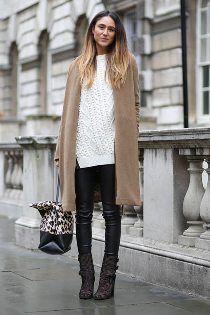 Camel colored coat and leather leggings
