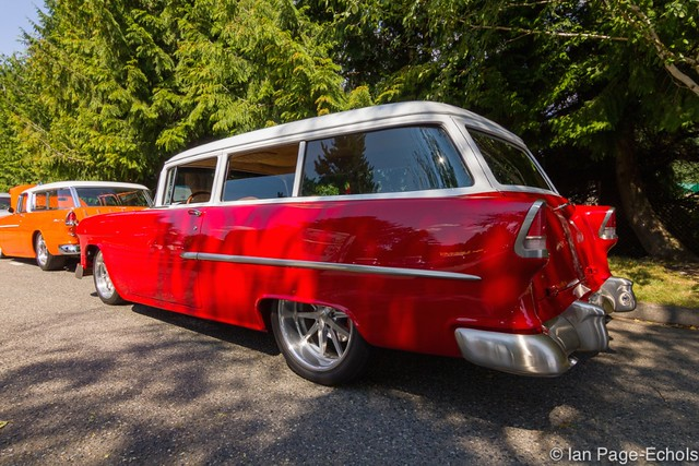 Red and White '55 Chevy Wagon (rear angle)