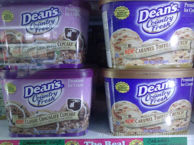 Dean's Country Fresh Classic Chocolate Cupcake and Caramel Toffee Crunch Ice Cream