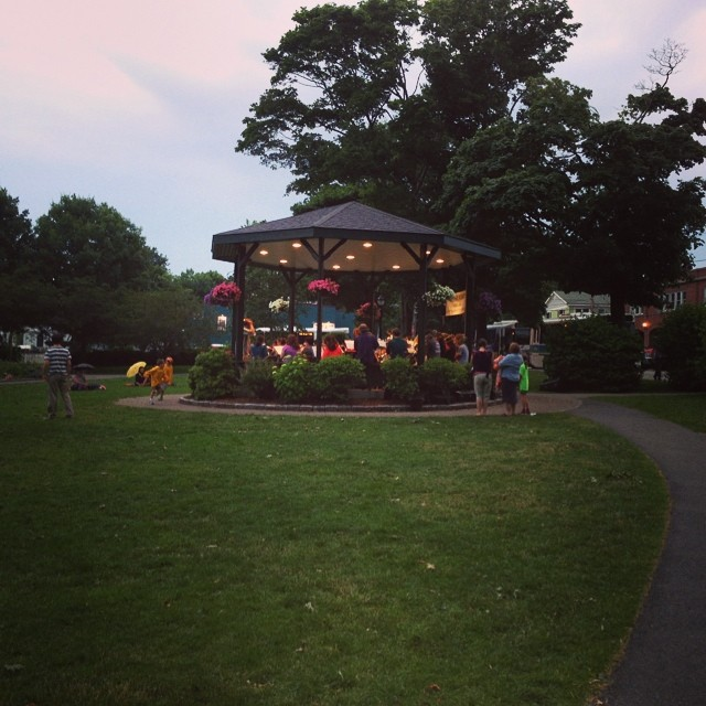 Brass band in the Village Green. #barharbor #maine