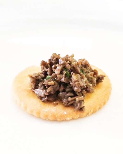 Mushroom Duxelle on a Piece of Biscuit