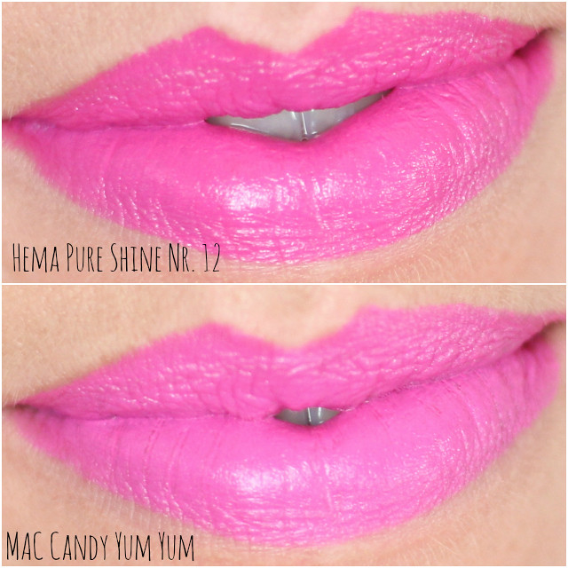 swatches hema pure shine mac candy yum yum