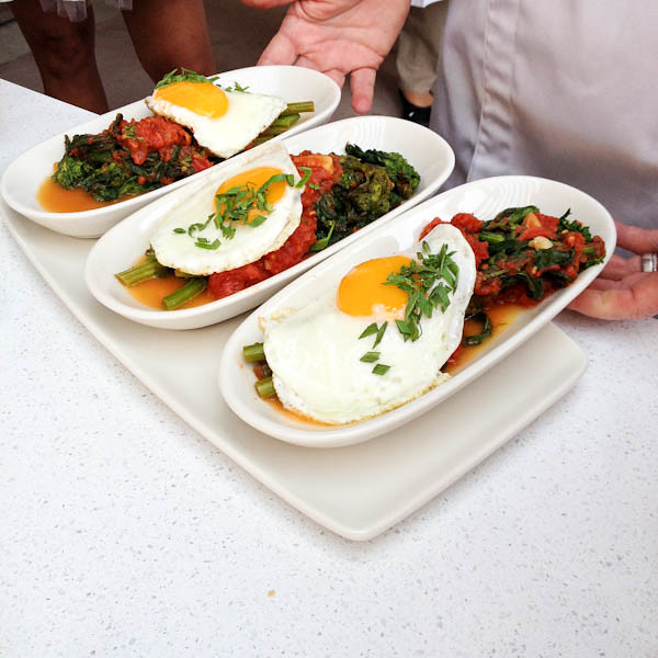 Rapini braised in Spicy Tomato Sauce w/ Fried Egg, Provenance