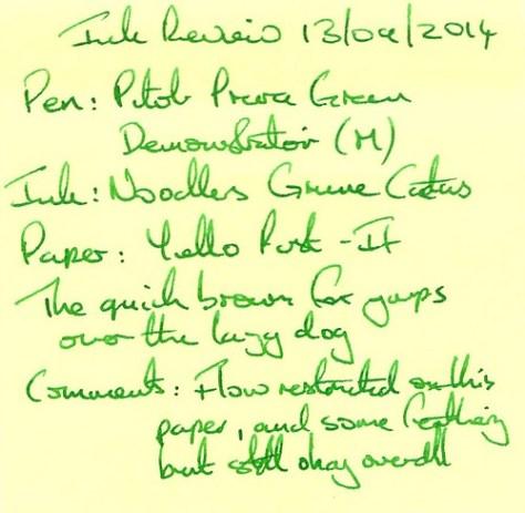 Noodler's Gruene Cactus - Post It - Ink Review