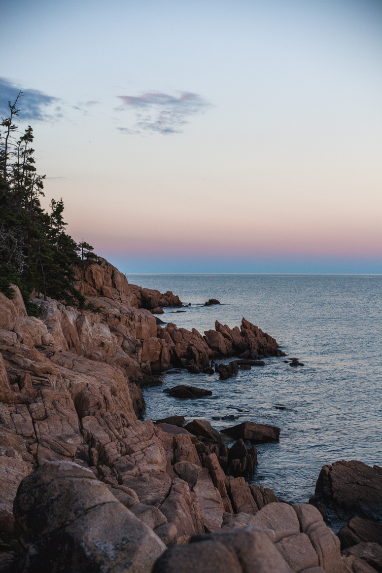 sunset, bass harbor head lighthouse