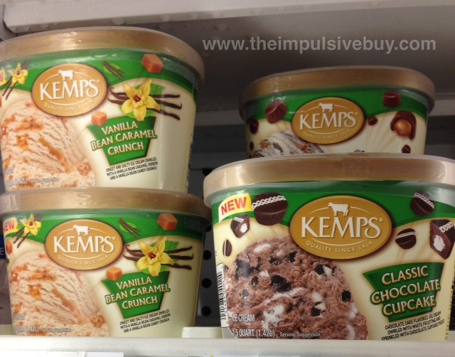 Kemps Vanilla Bean Caramel Crunch and Classic Chocolate Cupcake Ice Cream