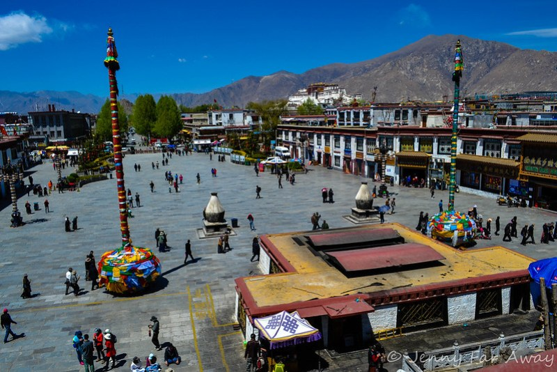 Barkhor Square from the roof of the Jokhang. Note the Potala Palace towering over the city in the distance.