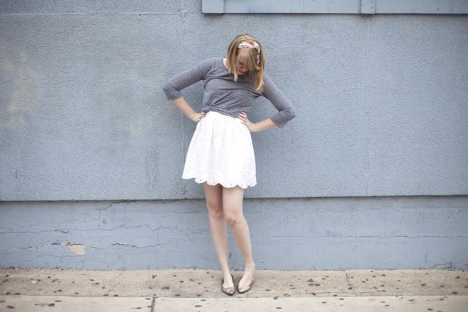 grey tee over eyelet dress