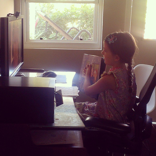 Skyping with our Spanish tutor in Guatemala.  #homeschool  #skype