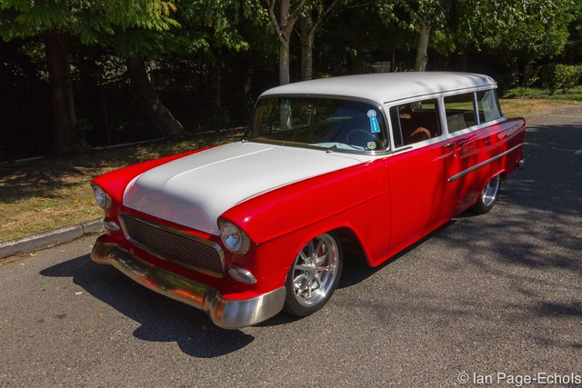 Red and White '55 Chevy Wagon (front angle)