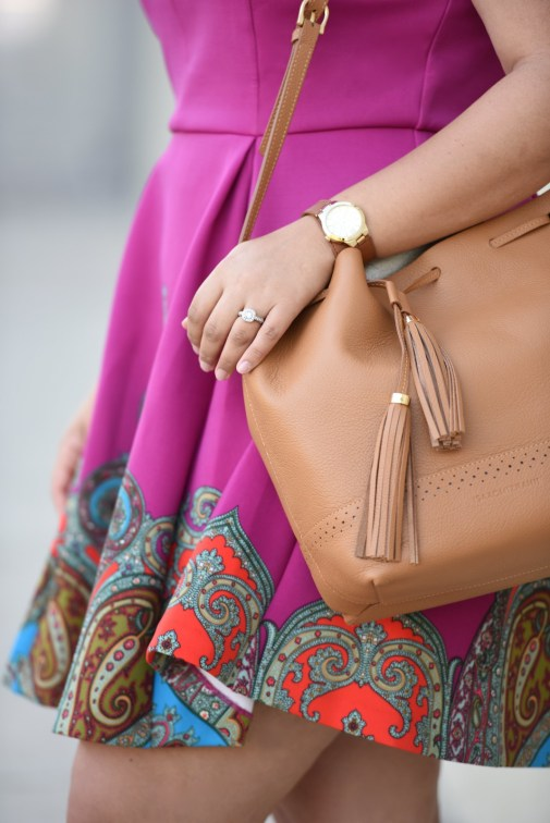 Paisley Dress, Cognac Accessories