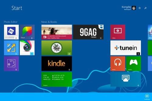 Start screen ของระบบปฏิบัติการ Windows 8.1