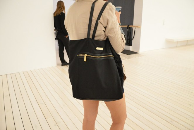 black tote bag, victoria's secret bag, beige loose cardigan