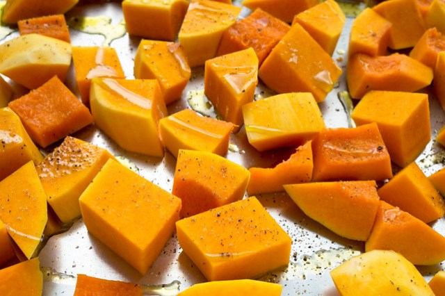 butternut squash, cubed and seasoned